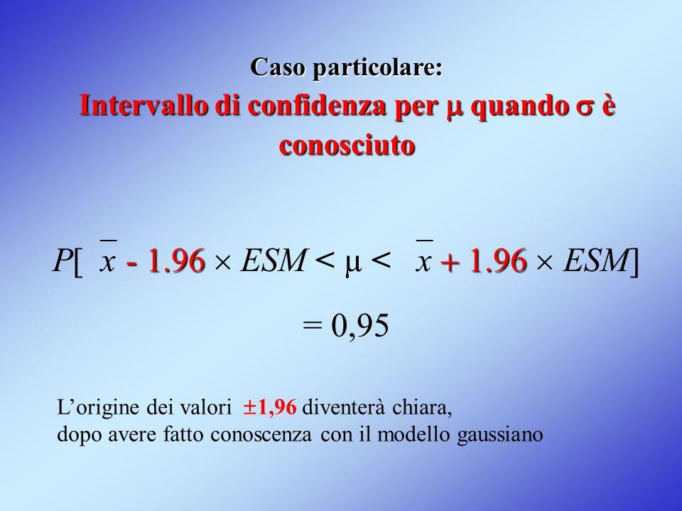 P[x - 1.96  ESM < µ < x + 1.96  ESM] = 0,95